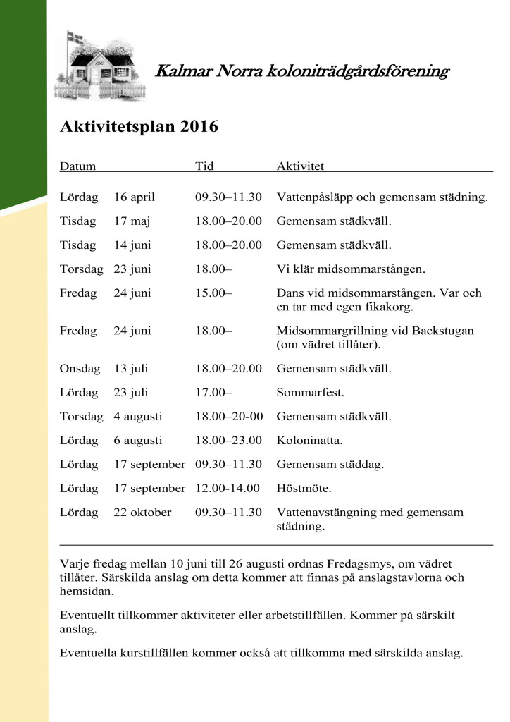 Aktivitetsplan 2016